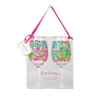 Acrylic Wine Glasses in Spot Ya by Lilly Pulitzer - FINAL SALE