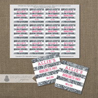 "Hot Pink & Silver Glitter Favor Tags Bachelorette Party Labels Thank You 2.25"" Square Bridal Shower Stripes DIY Printable or Printed- Allie"