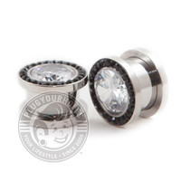 Black Ring Super Bling Threaded Steel Plugs