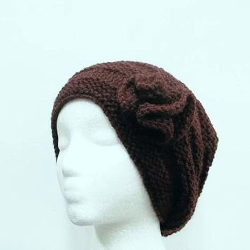 Knitted slouchy beanie hat chestnut brown 5296