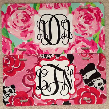 Lilly Pulitzer Monogrammed Licence Plate Car tag and License  Plate Frame