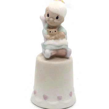 "Precious Moments ""Purrfect Grandma"", 1984 Thimble by Samuel Butcher, Enesco Imports"