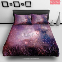Red Color Nebula Space Galaxy Texture Bedding sets Home & Living Wedding Gifts Wedding Idea Twin Full Queen King Quilt Cover Duvet Cover Flat Sheet Pillowcase Pillow Cover 008