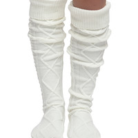 CoziBear Boutique Cream Cable-Knit Over-the-Knee Socks | zulily