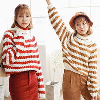 Striped Knit Turtleneck Long Sleeve Pullover Sweater in Khaki or Red