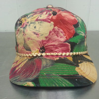 Vintage 80's 90's Fresh Prince of Bel Air Style Hawaiian Floral Print Snapback Hat Hipster Style Dad Hat