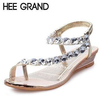 2016 Summer Style Sandals Bling Rhinestone Flats Women Platform Wedges Sandals Fashion