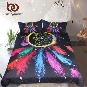 BeddingOutlet Dreamcatcher Bedding Set Queen Colorful Feathers Duvet Cover Night Moon Bedclothes 3pcs Black Bohemian Bed Set