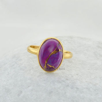 Silver Ring, Christmas Gift, Gemstone Ring, Copper Purple Turquoise Oval 10x14mm Micron Gold Plated 925 Sterling Silver Bezel Ring - #4736