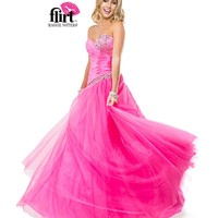 Flirt by Maggie Sottero 2014 Prom Dresses - Electric Pink Dropped Waist Satin Ball Gown with Tulle Skirt