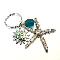 Beautiful Starfish Keychain, Peacock Blue Seaglass Key Chain, Abalone Shell Sun Celestial Key Ring, Beach Charm Keychain