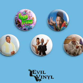 "Set of 5 Fresh Prince of Bel Air Buttons 1"" 90's TV Show Funny Will Smith Carlton Banks Love Epic 80's Retro Art Pin Pinback FREE SHIPPING"