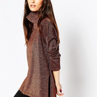 ASOS Knit Tunic With High Neck In Metallic at asos.com