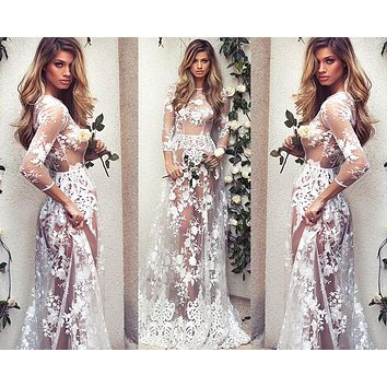 Fashion Gauze Lace Perspective Long Sleeve Maxi Dress