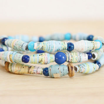 3 Recycled Paper Bead Bracelets, Handmade From Book Pages, National Geographic Map