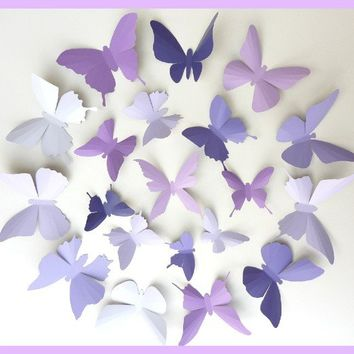 3D Wall Butterflies  15 Lavender Purple Eggplant by BugsLoft