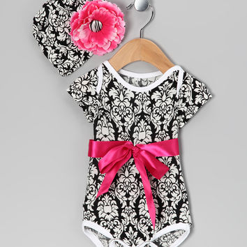 Royal Gem Black Damask Bow Bodysuit & Beanie - Infant