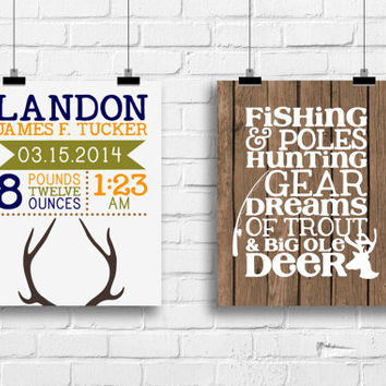 deer nursery decor, deer birth stat poster, birth stat print, home decor, antlers art print, fishing nursery art, kids art, nursery print