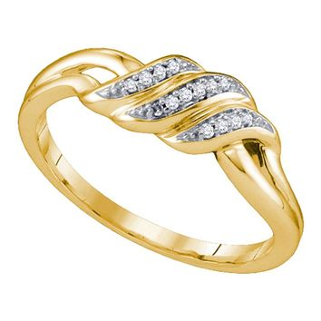 10kt Yellow Gold Womens Round Diamond Triple Row Simple Crossover Ring 1/20 Cttw