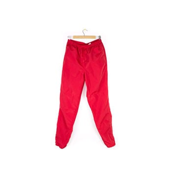 90s NIKE joggers / vintage 1990s / red windbreaker track pants / tapered leg / zipper cuffed ankle