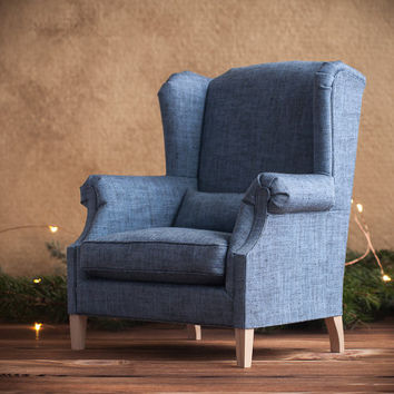 1/4 scale Doll Wing Chair, Cottage Chic Style, Wide Linen Wingback Chair, Blue Armchair for BJDs and other dolls up to 45 cm (18 inches)
