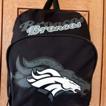 Denver Broncos Gray Shadow White Logo Name NFL Mini Backpack Book Bag Tote