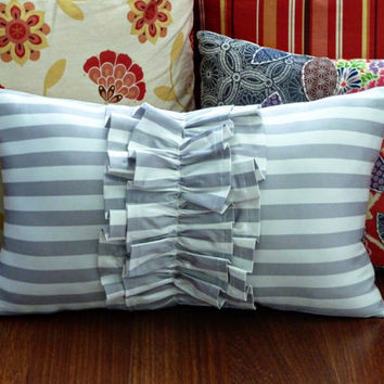 Striped Ruffle Throw Pillow by DesignsbyShley on Etsy