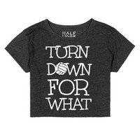 Volleyball Crop Top Turn Down for what-Female Heather Onyx T-Shirt