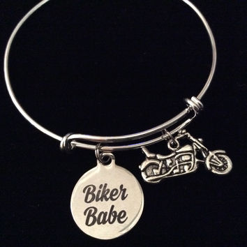 Biker Babe Motorcycle Silver Expandable Charm Bracelet Adjustable Bangle Gift Trendy Teenager Stacking