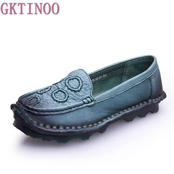 2017 Handmade vintage women's shoes genuine leather female moccasins loafers soft cow muscle outsole Spring casual shoes flats