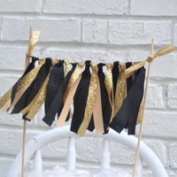 Gold Glitter Cake Banner - cake topper - black and gold cake topper - First Birthday Cake Topper - Cake Bunting - Cake Banner - gold party