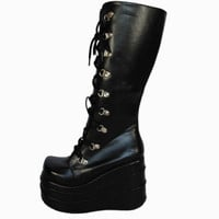 Women Boots Big Size 35-43 Black Cosplay Boots Fashion Platform Wedge Knee High Boots For Women Punk Motorcycle Boots 11cm Alternative Measures