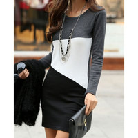 Dark Gray Color Block Long Sleeve Sheath Dress