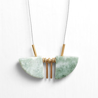 Green Marble Fan Cord Necklace with Brass Accents