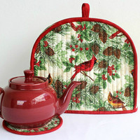 Quilted Christmas Tea Cozy, Cardinals, Tea Pot Mat, Trivet, Winter Teapot Cover, Insulated Tea Cozy, Handmade