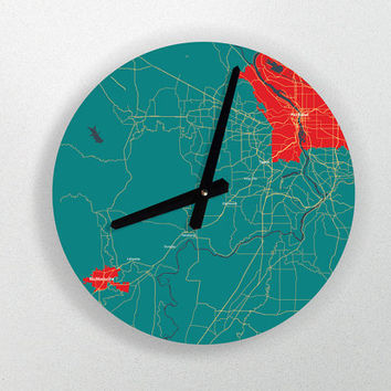 "Custom Map Art Wall Clock - Unique Contemporary Art Wall clock - 11"" Diameter - No Ticking Sound"