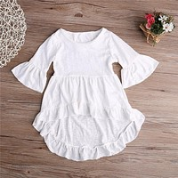 White Bell Sleeved Hi-Low Top 2-6T