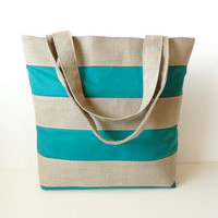 Green Striped Linen Burlap Tote Bag - Beach Bag- Summer Market Tote
