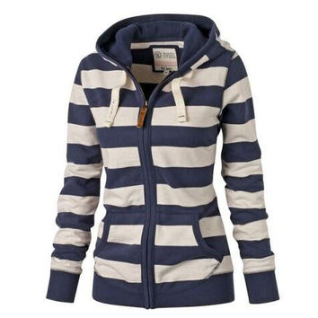 womens navy & white straps sweater outwear