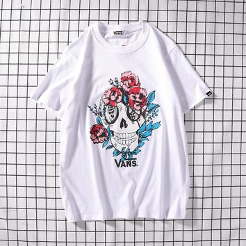 Short Sleeve Skull Cotton Stylish Casual T-shirts [1840847290419]