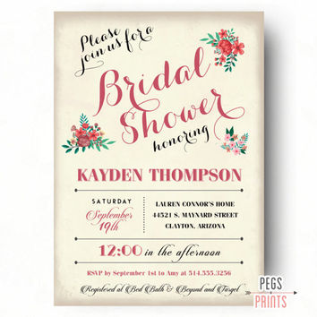 Country Bridal Shower Invitation - Floral Bridal Shower Invites - Shabby Chic Bridal Shower Invitation - Floral Bridal Shower Invitation