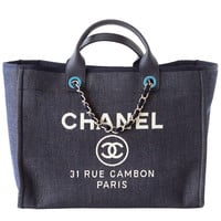CHANEL bag DEAUVILLE tote 2015 NAVY Leather top Handle SOLD OUT