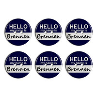 Brennen Hello My Name Is Plastic Resin Button Set of 6