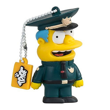 Tribe FD003413 Simpson Springfield Pendrive Figure 8 GB Funny USB Flash Drive 2.0 Memory Stick Data Storage, Keyholder Key Ring, Chief Wiggum, Blue