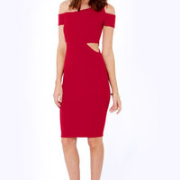 Shape Haven Cutout Wine Red Dress