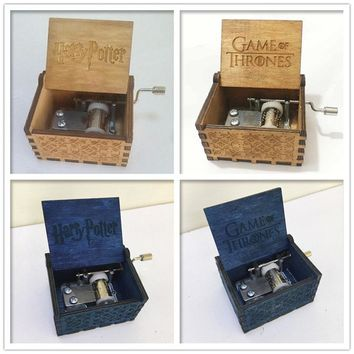 Game of Thrones Pure wooden classic hand-cranked Antique crank Harry Potter Music Box Christmas gift birthday Party