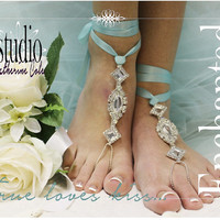 ENCHANTED BRIDE rhinestone silver Barefoot sandals beach destination wedding shoe bridal bridesmaid foot Jewelry Catherine Cole Studio SJ3