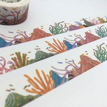 Coral Reef tape 10M colorful reef Tropical Coral Reef washi tape Coral Reef sticker tape fancy ocean world Under the Sea planner gift diary