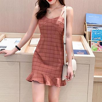 New Slim Checker Dress with Suspended Lattice and French Sexy Hair Hoop Night Club Pink