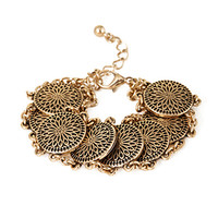 FOREVER 21 Chained Medallion Bracelet Antic Gold One